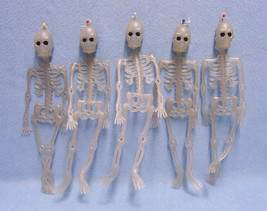 Lot of Five 10 Inch Hanging Skeletons  Indoor or Outdoor Halloween Decor... - $9.85