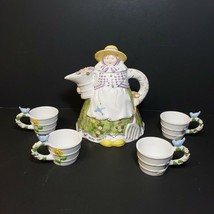 Department 56 Mary Mary Quite Contrary Tea Set Porcelain Teapot and 4 Cu... - $34.99