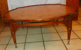 Walnut Mid Century Leather Top Coffee Table by Tomlinson  (RP) - $499.00