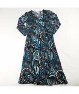 Liz Lange Maternity Dress Size XS Multi-Color Blue Midi 3/4 Sleeve V-Nec... - $13.21