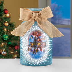 Lighted Winter Scene Indoor Tabletop Decoration, Victorian Mason Jar with Bow