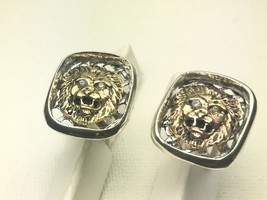 10k Gold Diamond Lion head sterling silver cuff links - $189.00