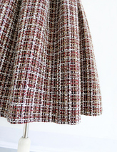 A-line Winter Tweed Skirt Outfit High Waisted Plus Size Burgundy image 4
