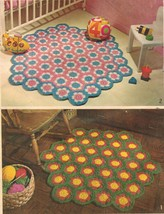 "Vintage 1973 Crochet Instructions Hexagonal Rugs Using 6"" Floral Motifs Pattern - $10.99"