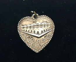 Vintage Estate Sterling Kansas City Covention Hall Heart Charm Hallmarked - $19.57
