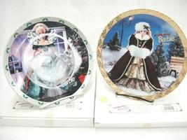 """Happy Holidays Barbie Plates 1995 and 1996 8""""  Lot of 2 Enesco LE w COA NIB - $11.87"""