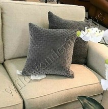 Pottery Barn Cross Stitch Pillow Cover Gray 18 sq Velvet Accent Flagstone - $49.50