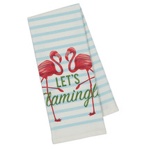 Let's Flamingle Dish Towels Set of 2 New Flamingos Striped Cotton Kitche... - $19.79