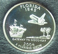 2004-S Silver Proof Florida State Quarter PF65DC #1041 - $6.39