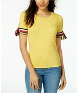 Maison Jules Women's Striped Tie-Sleeve Top Tuscan Gold LARGE - $39.11
