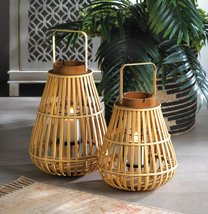Pine & Bamboo Slat Wooden Candle Lantern 1 Large & 1 Small - $74.95