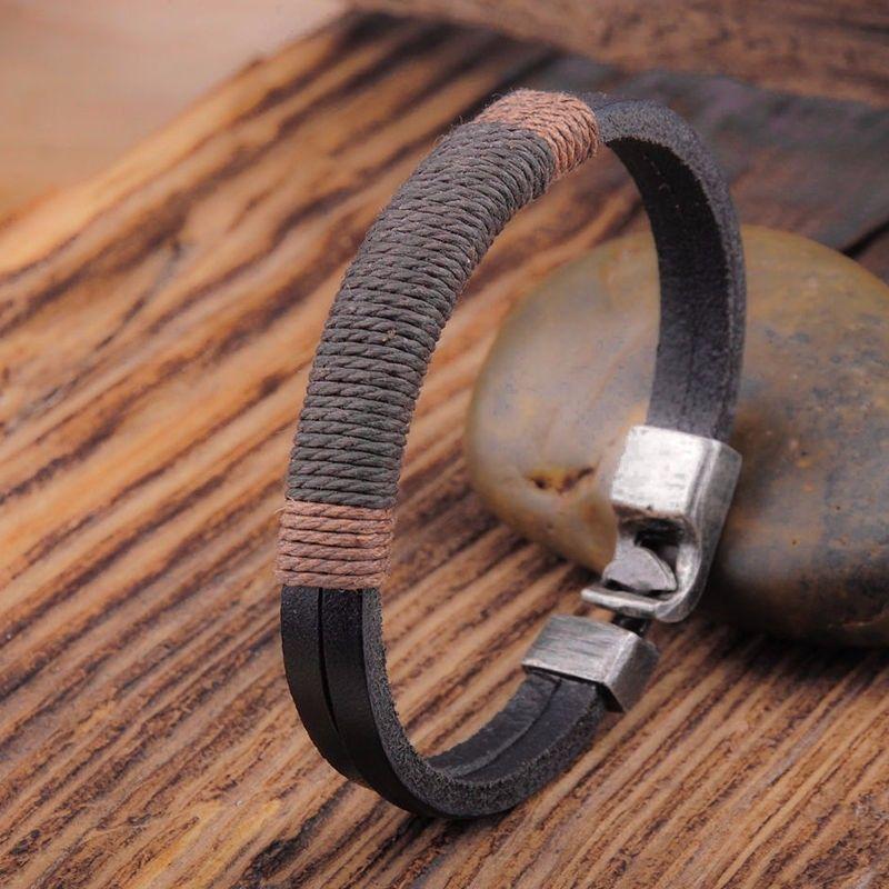 """Mens C&C Designer Black Brown Leather Band Cord 20cm 8"""" Punk Bracelet"""
