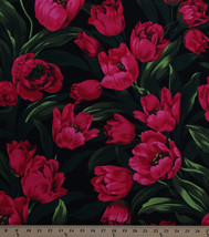 Cotton Michael Miller Large Ruby Tulips Allover Fabric Print by the Yard... - $12.95