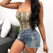 InstaHot Spaghetti Strap Bodysuit Women Sleeveless Snakeskin Sexy Skinny Backles - $23.84