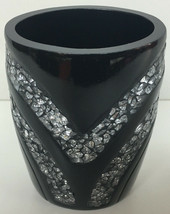 Popular Bath Sinatra Tumbler, Black Resin And Cracked Ice Look - $19.79