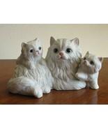 Vintage HomCo Porcelain Ceramic Cat Figurine White Persian Mother & Kitt... - $18.99