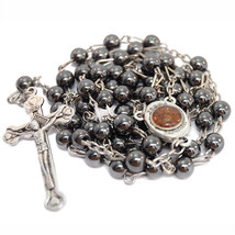 Hematite Rosary Beads Prayer Knot with Crucifix and Holy Soil from Jerus... - $9.90