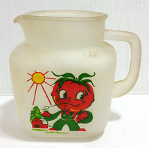 Mid Century Vtg HAZEL ATLAS Glass Pitcher Anthromorphic Tomato Man Farme... - $38.69