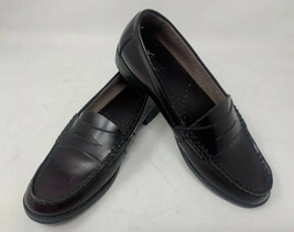 Bass Penny Loafers Moc Toe Casell Burgundy Leather Slip On Shoes Women's 7.5 M - $28.04