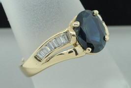 Customized 14K Yellow Gold Oval Sapphire and Baguette Diamond Ring (Size... - $795.00