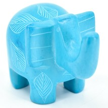 Vaneal Group Hand Crafted Carved Soapstone Sky Blue Elephant Figurine Made Kenya image 1