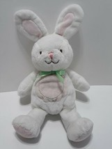 Carters Just One Year Bunny Rabbit Plush Baby Toy Green Bow - $15.35