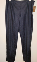 Ellen Tracy navy blue shiny silver shimmer pants party Jet Setter-8-NWT-... - $36.52