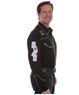 Men's Western Shirt Black Long Sleeve Rockabilly Country Cowboy Gun Skul... - $87.38