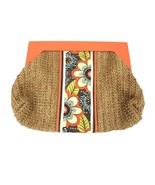 NWOT VERA BRADLEY Orange Straw Clutch Flower Shower Bag Wood Handle Purse - $33.66