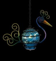 Regal Art & Gift Metal Crackle Glass Peacock Hanging Solar Lantern Garden Decor image 5