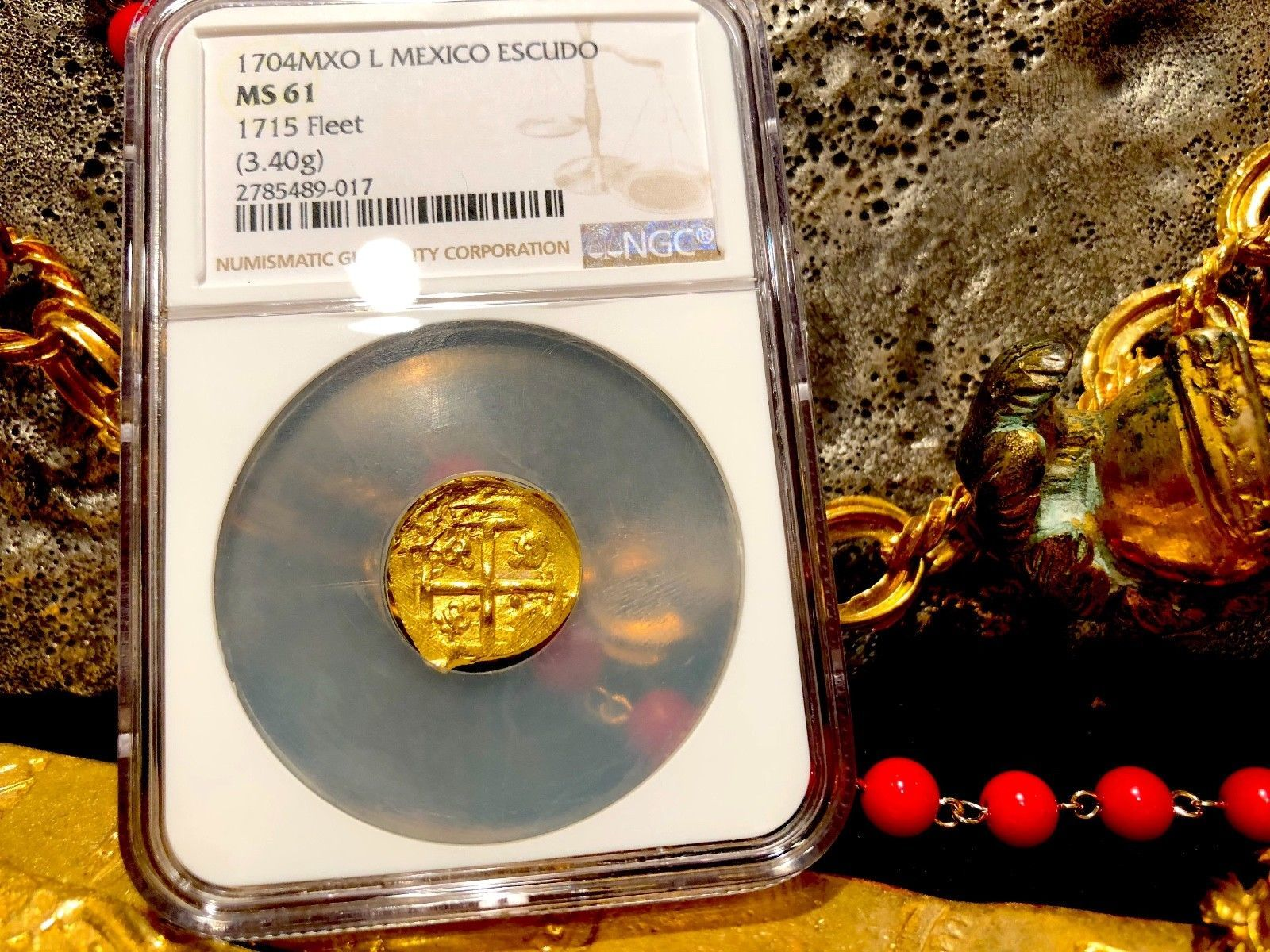 "MEXICO 1704 DATE 1 ESCUDO ""1715 PLATE FLEET SHIPWRECK"" NGC 61 PIRATE GOLD COINS"