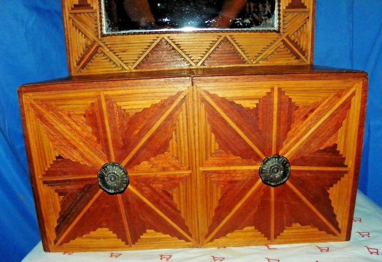 FOLK ART WOODEN HAND CARVED HANGING CHEST BUFFET WITH MIRROR L@@AT THE DETAIL!!