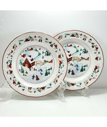 "Farberware White Christmas Salad Plates 7.75"" Set of 2 Holiday Snow Scen... - $6.93"