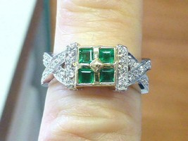 Vintage 4 Emerald and Diamond 14k White & Yellow Gold Woven Ring Size 6 - €318,73 EUR