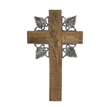 Wooden Hanging Wall Cross with Metal Leaf Trim,-Gift ,Small - $22.62