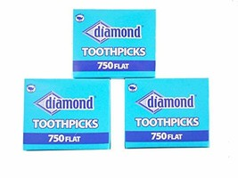 Wooden Flat Toothpicks 3-pack 2250 Total Tray Box - $10.99