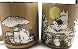 2 Vintage Frog Mugs Ceramic with Speckles & Glazed Frogs Reading on Toad... - $28.05