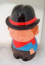 Coin Bank Vintage Cowboy Cowpolk Piggy Bank made in Taiwan cute children... - $19.77