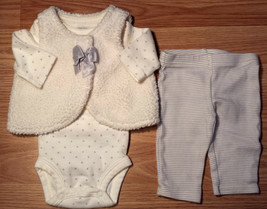 Girl's Size NB Newborn 3 Piece Carter's Cream Sherpa Vest, Polka Dot Top... - $18.00