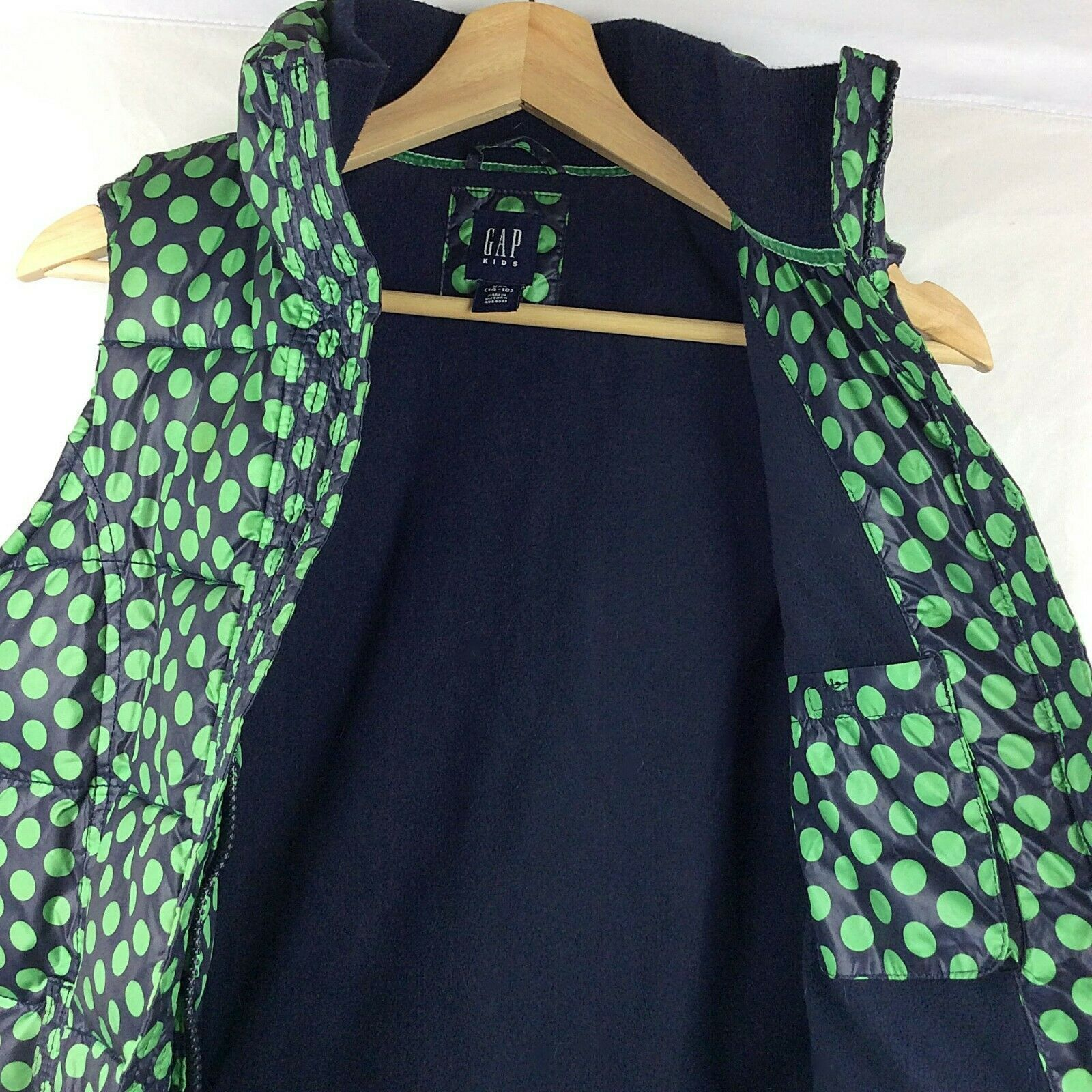 Gap Kids Girls Puffer Vest XL 14 16 Navy Blue Green Polka Dot Thick Quilted