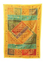 Wall Hanging Mirror Patch Work Multi color Home Decor Vintage India CA321WH - $121.91