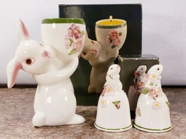 Avon Sunny Bunny Lot 2 Bells 1 Candle Holder Hand Painted Ceramic Spring... - $14.53