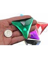 68mm Green Emerald H106 Flat Back Triangle Acrylic Gems Pro Grade Indivi... - $9.26