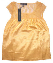 Ropa Voga Yellow Satin Lace Top Size Small NWT - $16.00
