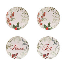 "Melamine Plates Peace Joy Wreath Appetizer Dessert 6"" Set of 4 Boxed Chr... - $29.58"