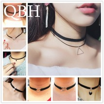 New Gothic Punk Harajuku Choker Necklace Leather Black Velvet Suede Stea... - $7.61