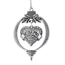 Inspired Silver Scorpio Zodiac Pave Heart Holiday Christmas Tree Ornament With C - $14.69