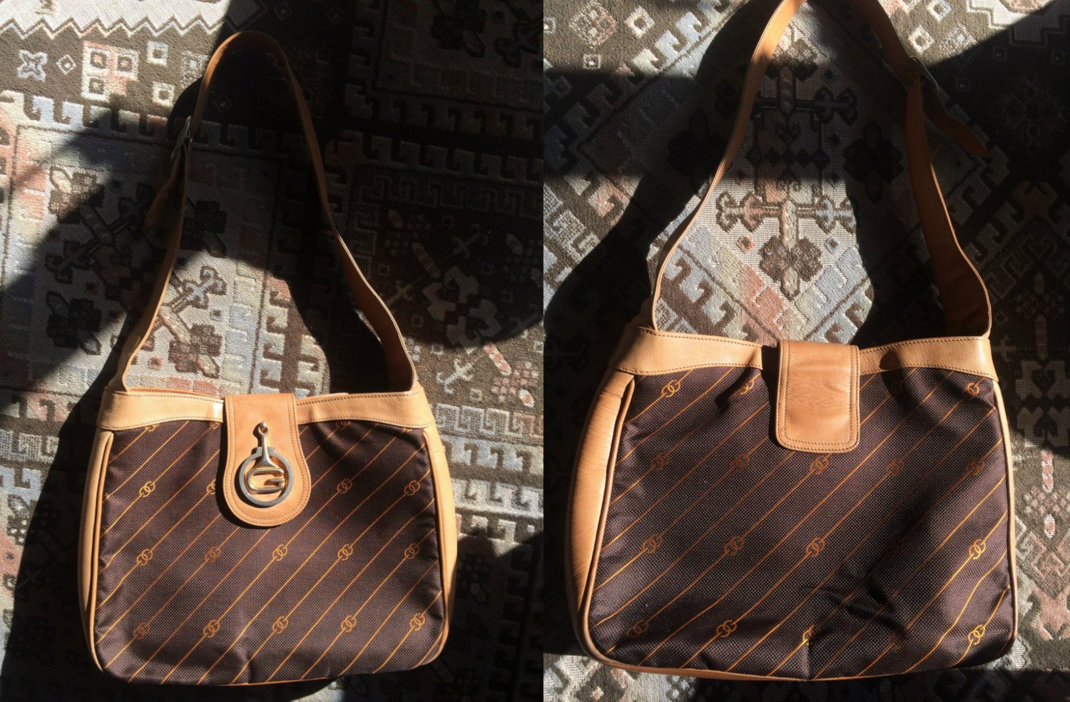 Vintage Gucci brown and orange jacquard and leather combo shoulder bag with gold