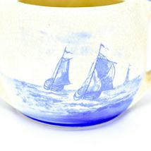 Vintage Delft Blue Style Windmill & Sailboat Nautical Scene Crock Bowl (NO LID) image 7