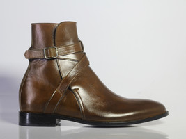 Handmade Men's Brown Leather High Ankle Monk Strap Jodhpurs Boots image 2